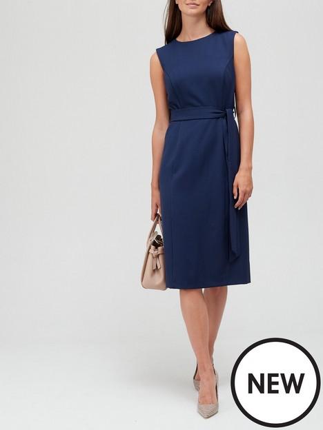 v-by-very-sleeveless-tie-waist-midi-dress-navy
