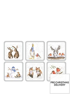 royal-worcester-wrendale-christmas-coasters