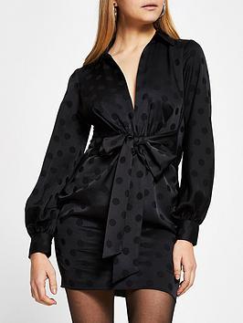 river-island-spot-tie-front-shirt-dress-black