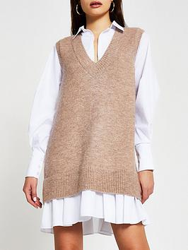 river-island-knitted-tabbard-shirt-dress-brown