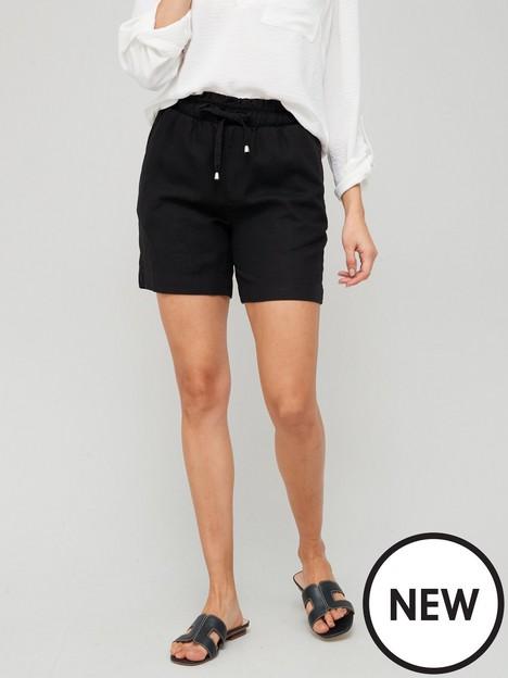 v-by-very-longer-length-linen-mix-short-black