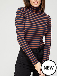 brave-soul-rib-roll-neck-long-sleeve-top-navyrustred