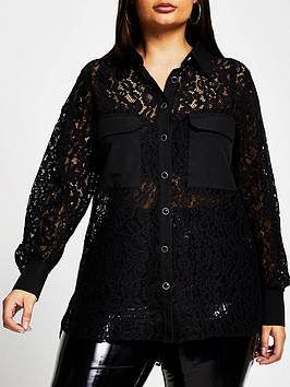ri-plus-pocket-detail-lace-shirt-black