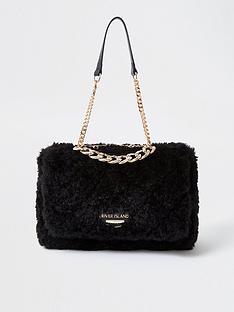 river-island-fluffy-quilted-shoulder-bag-black