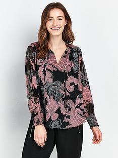 wallis-paisley-ruffle-front-blouse-pink