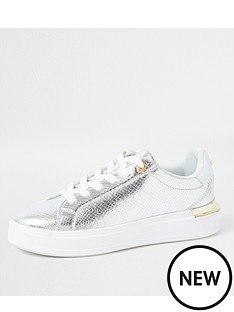 river-island-metallic-lace-up-trainer-silver