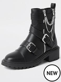river-island-zip-detail-buckle-boots-black