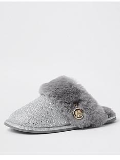 river-island-quilted-mule-slipper-grey