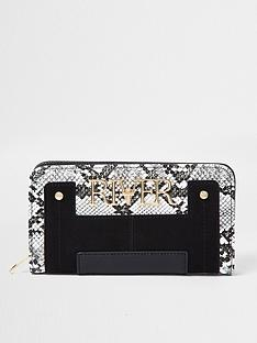 river-island-snake-print-zip-around-purse-black