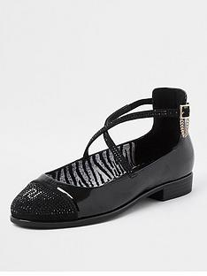 river-island-embellished-ankle-strap-flat-shoe-black