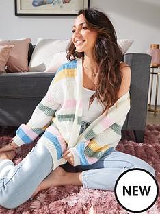 michelle-keegan-striped-slouchy-textured-cardigan-multi