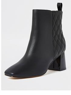 river-island-quilted-block-heel-ankle-boot-black