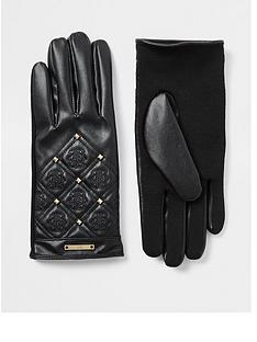 river-island-quilted-branded-stitch-glove-black