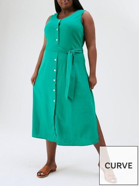 v-by-very-curve-button-through-linen-midi-dress-green