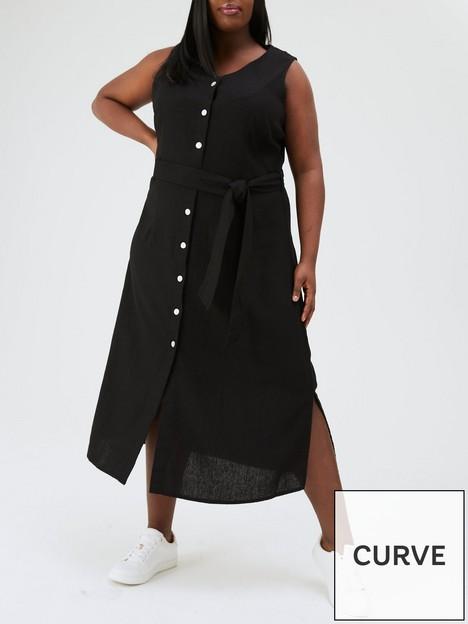 v-by-very-curve-button-through-linen-midi-dress-black