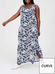 v-by-very-curve-side-split-jersey-maxi-dress-navy-print