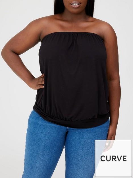 v-by-very-curve-bandeau-banded-hem-jersey-top-black
