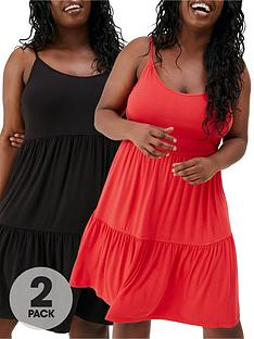 v-by-very-curve-2-pack-jersey-cami-dresses-blackred