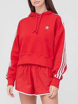 adidas-originals-3-stripe-short-hoodie-red