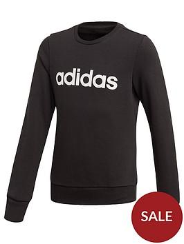 adidas-youth-girls-linear-sweat-top-blackwhite