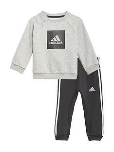 adidas-infant-3-stripe-logo-jogger-set-greyblacknbsp