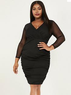 quiz-curve-quiz-curve-black-mesh-wrap-long-sleeve-bodycon-knee-length-dress