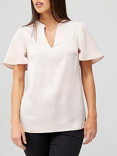 v-by-very-fluted-sleeve-notch-neck-top-blush
