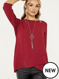 quiz-bubble-crepe-cross-hem-necklace-top-berry