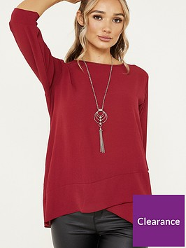 quiz-bubble-crepe-cross-hem-necklace-top-berry