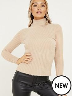 quiz-fuzzy-knit-roll-neck-jumper-stone