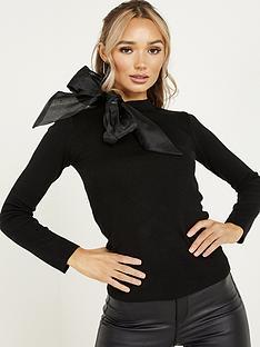 quiz-knit-satin-bow-neck-jumper-black