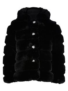 river-island-girls-faux-fur-hooded-coat-black