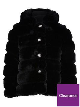 river-island-girls-faux-fur-hooded-coat-black