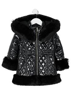 river-island-mini-mini-girls-high-shine-faux-fur-quilted-coat-black