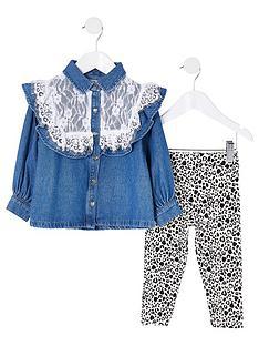 river-island-mini-mini-girls-lace-denim-shirt-and-legging-set-multi