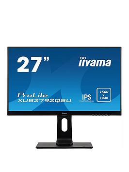 iiyama-prolite-xub2792qsu-b1-27-ips-2560x1440-freesync-ultra-slim-bezel-black-hdmi-display-port-usb-hub-height-adjustable