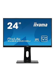 iiyama-prolite-xub2492hsu-b1-24-ips-full-hd-black-ultra-slim-bezel-hdmi-display-port-usb-hub-height-adjustable