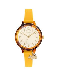 radley-silver-sunray-and-tortoise-shell-with-dog-charm-dial-orange-strap-ladies-watch