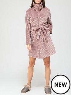 hunkemoller-zip-fleece-embossed-rib-robe-mauve
