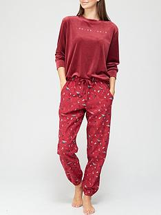 hunkemoller-long-sleeve-velour-lounge-top-red