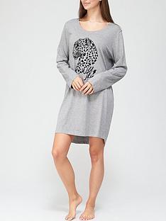 hunkemoller-leopard-long-sleeve-nightdress-grey