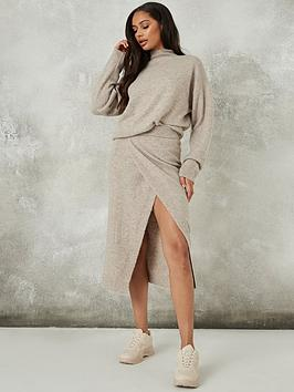 missguided-missguided-recycled-split-front-skirt-co-ord-mocha