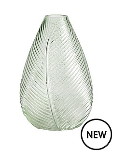 gisela-graham-green-leaf-impression-glass-vase