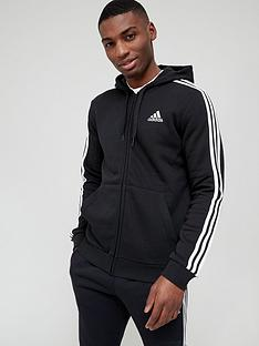 adidas-3-stripe-fleece-full-zip-hoodie--nbspblack