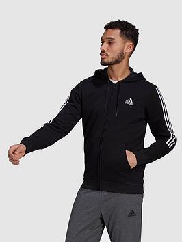 adidas-cut-3-stripe-full-zip-hoodie-blackwhite