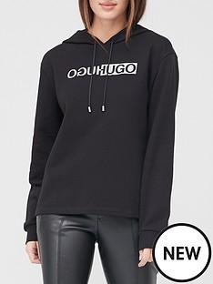 hugo-logo-overhead-hoodie-black