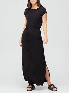 v-by-very-loose-short-sleeve-tie-waist-maxi-dress-black