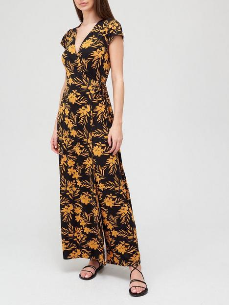 v-by-very-short-sleeve-wrap-jersey-maxi-dress-mustard-floralnbsp