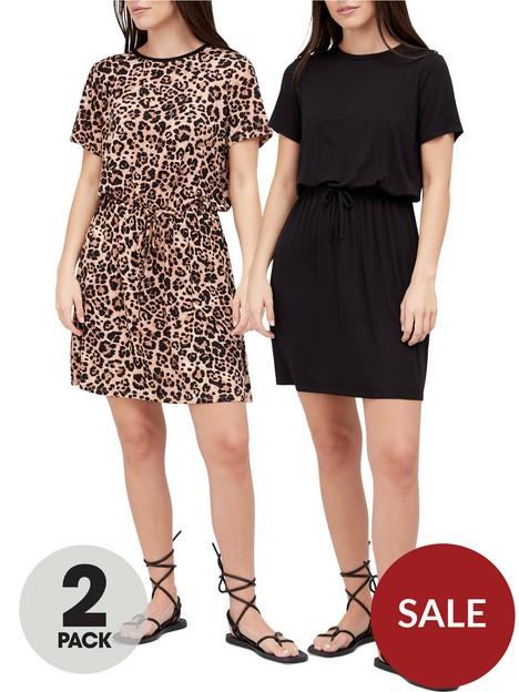 v-by-very-2-pack-channel-waist-short-sleeve-mini-dress-black