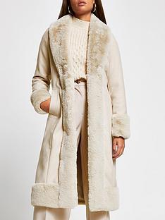 river-island-faux-fur-robe-coat-cream